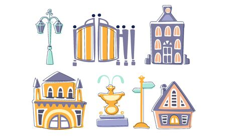 City Landscape Elements Set, Town Residential Houses, Fountain, Lantern, Signpost Hand Drawn Vector Illustration