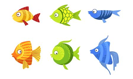 Cute Fish Set, Colorful Tropical Sea or Aquarium Fish Vector Illustration
