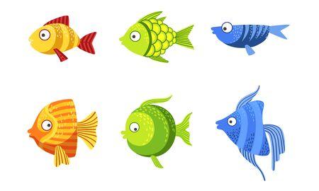 Ensemble de poissons mignons, mer tropicale colorée ou illustration vectorielle de poissons d'aquarium Vecteurs