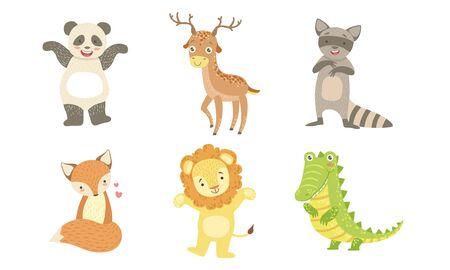 Cute Smiling Animals Set, Happy Panda, Deer, Raccoon, Fox, Lion, Crocodile Vector Illustration