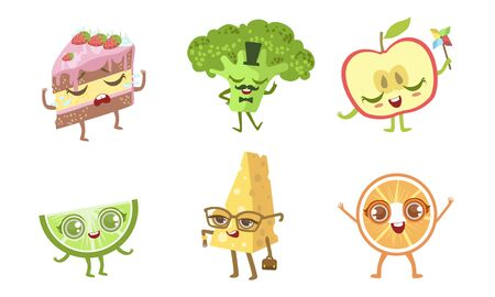 Cute Funny Food Characters Set, Cake, Broccoli, Apple, Lime, Cheese, Orange Vector Illustration