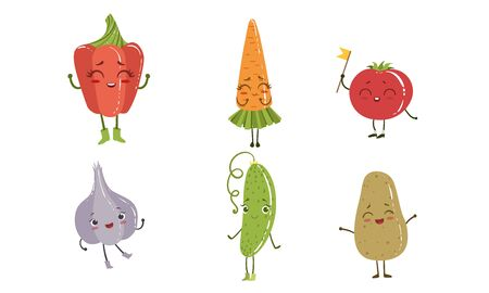 Cute Happy Vegetable Characters Set, Pepper, Carrot, Tomato, Garlic, Cucumber, Potato Vector Illustration on White Background.