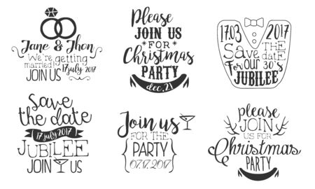 Invitation for the Event Monochrome Badges Set, Wedding, Save the Date, Christmas Party Design Element Hand Drawn Vector Illustration