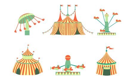 Amusement Park Icons Set, Carnival, Festival Funfair Attractions, Marquee, Carousels Vector Illustration Illustration