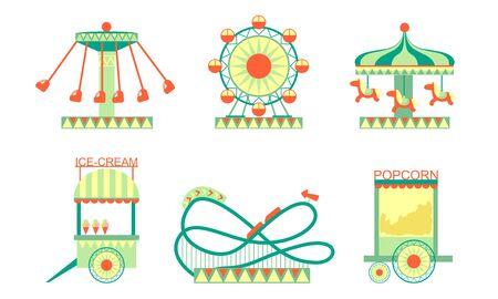 Amusement Park Attractions Icons Set, Roller Coaster, Ferris Wheel, Ice Cream and Popcorn Carts Vector Illustration