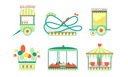 Amusement Park Attractions Icons Set, Roller Coaster, Ferris Wheel, Bumper Cars, Ice Cream and Popcorn Carts Vector Illustration
