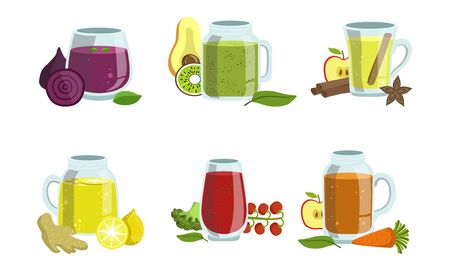 Fruit and Vegetables Smoothies Set, Detox Cocktails with Ingredients, Design Element for Cafe, Restaurant, Bar Menu Vector Illustration