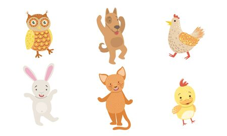 Cute Smiling Animals Set, Happy Owl, Dog, Hen,Chicken, Bunny, Cat Vector Illustration