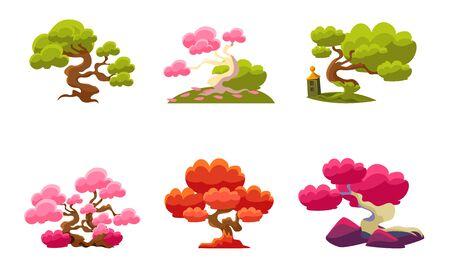 Fantasy Trees Set, Fairytale Nature Landscape Elements, Game User Interface Assets Vector Illustration Foto de archivo - 129711760