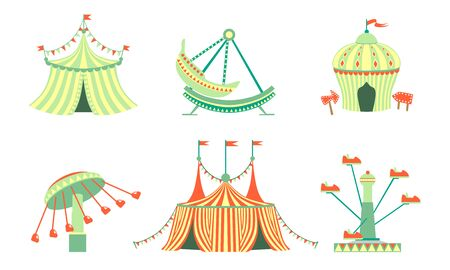 Amusement Park Icons Set, Carnival, Festival Funfair Attractions Vector Illustration Ilustração