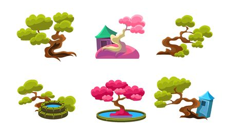 Fantasy Trees, Cute Houses and Well Set, Fairytale Nature Landscape Elements, Game User Interface Assets Vector Illustration on White Background. Иллюстрация
