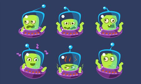 Cute Alien Character in Ufo Set, Funny Monster with Different Emotions, Green Emojis Vector Illustration, Web Design. Illustration