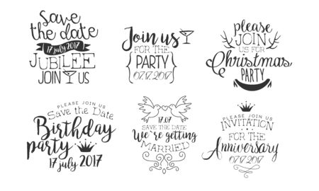 Invitation for the Event, Save the Date Monochrome Badges Set, Wedding, Christmas, Party, Anniversary Design Element Hand Drawn Vector Illustration