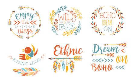 Enjoy the Little Things Hand Drawn Badges Set, Wild and Free, Boho Dream on, Ethnic Logo Templates Vector Illustration Logos