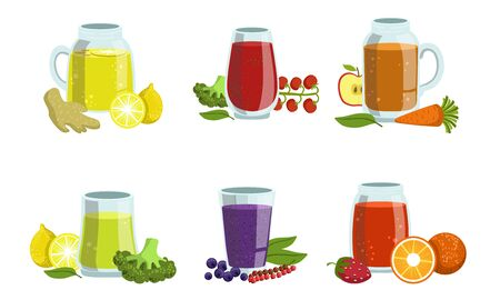 Fruit and Vegetables Smoothies Set, Healthy Detox Cocktails with Ingredients, Design Element for Cafe, Restaurant, Bar Menu Vector Illustration