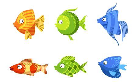Cute Fish Set, Colorful Stylized Marine or Aquarium Fish Vector Illustration