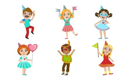 Happy Boys and Girls Celebrating Party with Balloons, Party Hats, Flags and Masks, Happy Birthday Set Vector Illustration