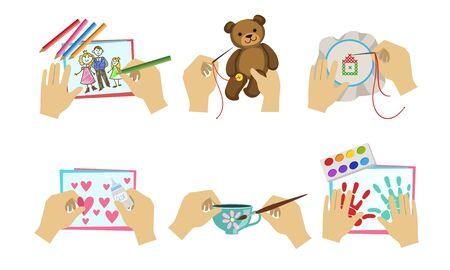 Human Hands Making Diy Crafts Set, Creative Hobbies, Painting, Sewing, Applique Vector Illustration