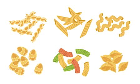 Pasta Various Types Set, Italian Traditional Food Vector Illustration 일러스트