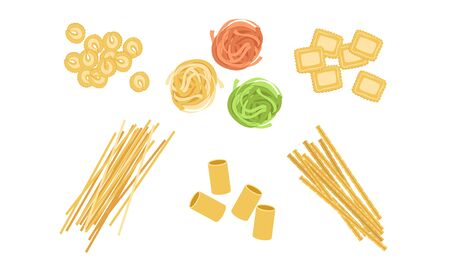 Dry Pasta Assortment Set, Italian Traditional Food of Various Types and Shapes Vector Illustration
