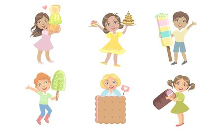 Cute Kids Eating Sweet Desserts Set, Happy Boys and Girls with cake, Marmalade, Ice Cream, Cookie Vector Illustration