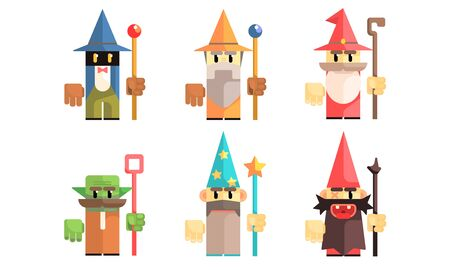 Cnomes Dwarves Set, Fairy Tale Design Elements, Fantasy Game Heroes Vector Illustration