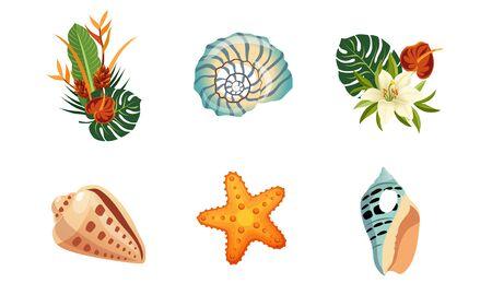 Sea Shells, Palm Leaves and Flowers Set, Exotic Tropical Landscape Design Elements Vector Illustration Иллюстрация