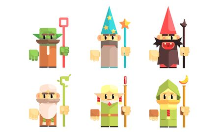 Sorcerers and Dwarves Set, Fairy Tale Design Elements, Fantasy Game Heroes Vector Illustration Ilustrace