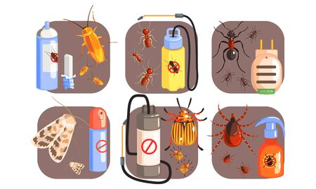 Pest Control Icons Set, Extermination of Harmful Insects, Tick, Cockroach, Moth, Ant, Termite Vector Illustration