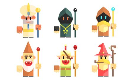Gnomes Dwarves with Magical Staves Set, Fairy Tale Design Elements, Fantasy Game Heroes Vector Illustration Ilustrace