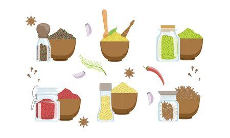 Spices in Wooden Bowl Set, Sesame, Anise Seeds, Peppercorns, Paprika Powder, Svanuri Marili Vector Illustration