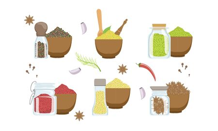 Spices in Wooden Bowl Set, Sesame, Anise Seeds, Peppercorns, Paprika Powder, Svanuri Marili Vector Illustration