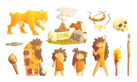 Primitive People and Stone Age Symbols Set, Prehistoric Family, Saber Toothed Tiger and Tools Vector Illustration Ilustração