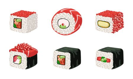 Sushi Rolls Set, Traditional Japanese Food, Delicious Seafood Vector Illustration Archivio Fotografico - 129696893
