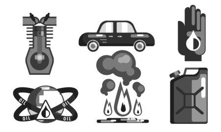 Gasoline Processing Black Symbols Set, Oil Industry Production Flat Vector Illustration