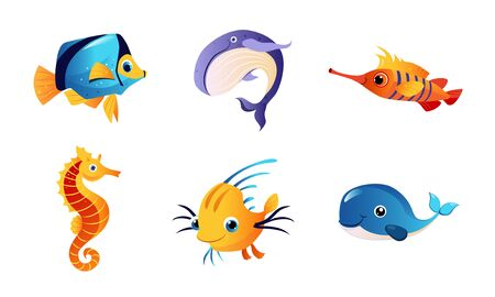 Cute Friendly Sea Creatures Set, Colorful Marine Fishes and Animals Vector Illustration Vektorové ilustrace