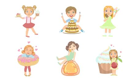 Kids with Sweet Desserts Set, Happy Boys and Girls Eating Cake, Candies, Ice Cream, Donut Vector Illustration Illustration