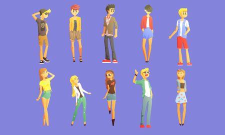 Les gars et les filles vêtus d'un ensemble de vêtements à la mode, des personnages charismatiques de jeunes Vector Illustration