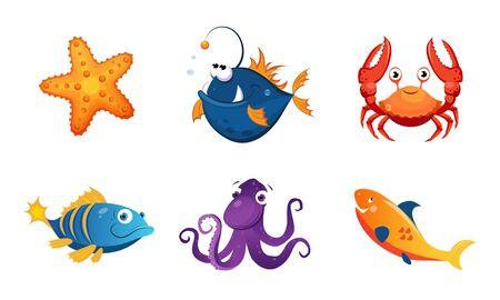Ensemble de créatures marines amicales mignonnes, illustration vectorielle d'animaux marins adorables colorés Vecteurs