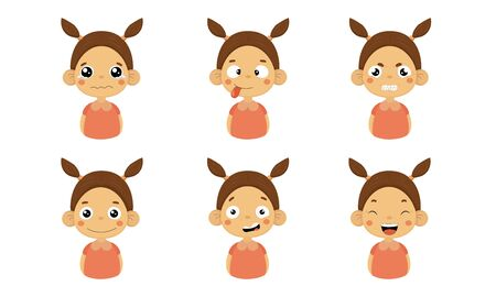Cute Girl Facial Emotions Set, Kids Face with Different Expressions Vector Illustration on White Background. 向量圖像