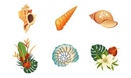 Sea Shells, Palm Leaves and Flowers Set, Summer Tropical Landscape Design Elements Vector Illustration