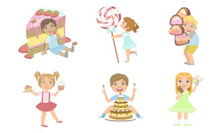 Cute Kids with Sweet Desserts Set, Smiling Boys and Girls Eating Cake, Candies, Ice Cream Vector Illustration Illustration