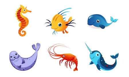 Cute Friendly Sea Creatures Set, Colorful Adorable Marine Fishes and Animals Vector Illustration Vectores
