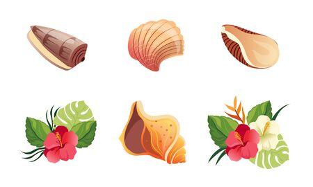 Sea Shells and Exotic Flowers Set, Beautiful Tropical Landscape Design Elements Vector Illustration