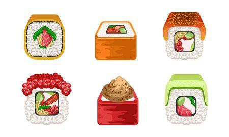 Sushi Rolls Set, Traditional Japanese Delicious Seafood, Asian Cuisine Restaurant Design Elements Vector Illustration