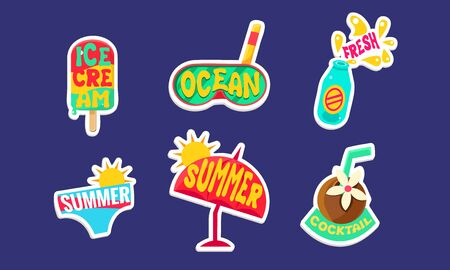 Summer Stickers Set, Cute Holidays Trendy Patches Vector Illustration