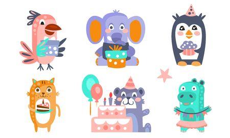 Cute Cartoon Animal Characters Set, Childish Birthday Party Design, Parrot, Elephant, Penguin, Cat, Bear, Crocodile Vector Illustration