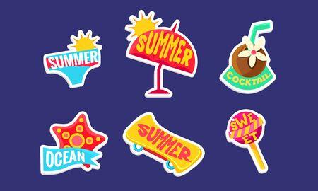 Summer Stickers Set, Bright Holidays Trendy Patches Vector Illustration Иллюстрация