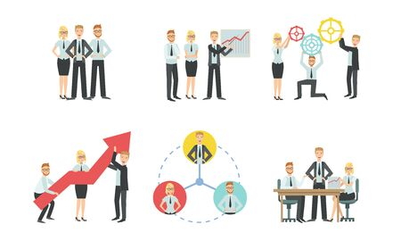 Sucessful Business People Characters Working in Office Set, Teamwork, Business Competition, Meeting, Negotiation Vector Illustration  イラスト・ベクター素材