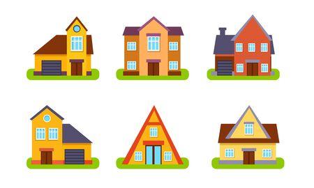 Vorstädtische Wohnhäuser und Cottages, traditionelle Immobiliengebäude, Vorderansicht-Vektor-Illustration